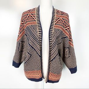 Anthropologie Moth | Orange Navy Aztec Sweater MED